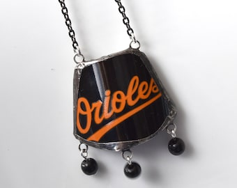Broken Plate Pendant on Chain - Baltimore ORIOLES - Recycled China with Black Beads