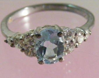 Vintage  Blue Topaz Sterling Silver Ring.....  Lot 5387