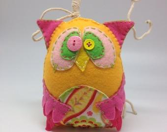 Yellow Felt Owl, pink and yellow felt owl plushie, stuffed owl, soft owl toy, button eyes, wise owl fiber art