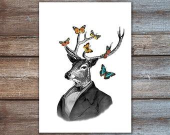Reh im Anzug, Hirsch Geweih Dekor, Hirsch-Kunst zu drucken, Hirsch mit Schmetterlingen - Tier in Kleidung, Poster drucken - Art Print, Hirsch Wandkunst, vintage
