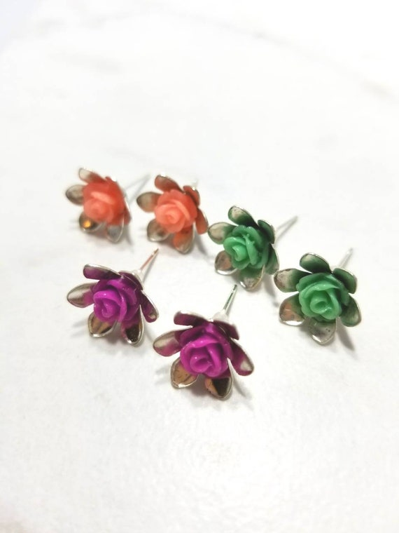 Roses - gold plated earring studs (pink/teal/fuchsia) set of 3