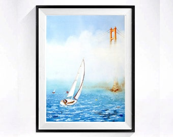 Watercolor Prints of Sailboats Watercolour Painting San Francisco Golden Gate Bridge paintings Sailboat painting Fine art Ocean A