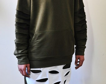 Khaki Olive Disstressed Kanye C-Neck White Layer Hem Sweatshirt