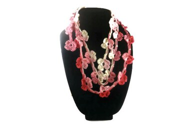Crochet lariat scarf, Pink flowers, fashion scarf, necklace, Ready to ship  Eco Friendly Scarf