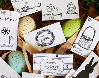 Easter Gift Tags Printable Handwritten Color Yourself - 10 Count