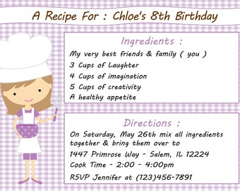 Kid's Cooking Invitation - Girl  (Digital File) / Kid's Baking Invitation / Cooking Birthday Party / Baking Birthday Invitation