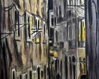 Watercolor Portugal painting, Night town, Lisbon in the night, ORIGINAL Portugal inspired art, wall art, home decor, Alex Solodov