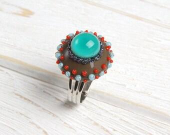 Aquamarine grey lampwork ring, gift ring, party ring, designer glass ring, turquoise gift ring, ocean ring, statement blue ring, teal ring