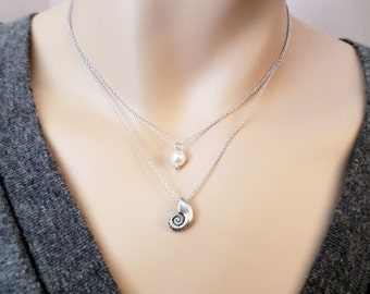 Double layered, Ariel, Pearl, Silver, Necklace, Ariel voice, Seashell, Shell, White, Pearl, Double, Layer, Necklace, Birthday, Gift