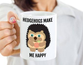 Hedgehog Mug - Hedgehogs Make Me Happy - Cute Hedgehog Gift for Coffee, Tea Lovers