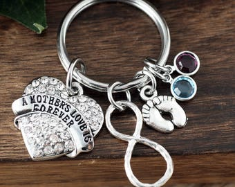 Personalized Birthstone Key Chain, Gifts for Mom, New Mom Keychain, Keychain For Mom, Mom Birthstone Keychain, A Mother's Love is Forever