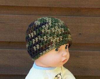 boys crochet hat, baby boy beanie, beanie, camouflage hat, camo beanie, army hat, green, brown, black, newborn, baby boy beanies, 4724