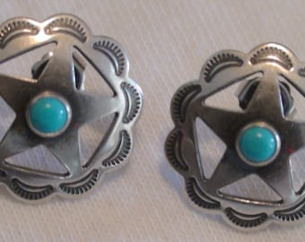Native American Navajo Stamped Sterling Silver Turquoise Stone Concho Earrings