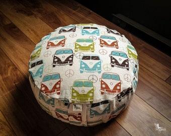 Zafu Pouf - Wanderlust - Meditation cushion Reversible buckwheat pillow - handmade by Creations Mariposa