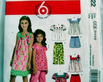 """McCall's 6022 Pattern - New McCall""""s EASY dress- top - shorts - and pants pattern Size 3-6"""