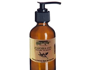 Pure Organic Moisturizing Jojoba Oil for Skin, Hair, Massage and Nails (4 Oz Amber Glass Pump Bottle) - Rejuvenating Anti-Aging Jojoba Oil