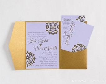 Purple and Gold wedding invitation pocketfold suite elegant purple wedding invitation rsvp card and details card damask wedding invitation