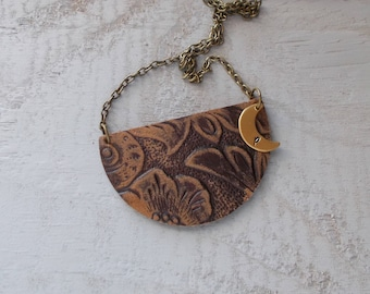 Leather Pendant Necklace Half Circle with Crescent Moon Brass Initial Pendant Textured Embossed Distressed Antiqued Brass Necklace