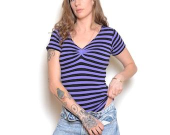 Vintage 80's Purple Striped T-Shirt Bodysuit Sz M