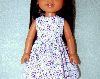 "Dress for 14.5"" Wellie Wishers or Melissa & Doug Doll Clothes handmade purple flowers tkct1230 rts READY TO SHIP"