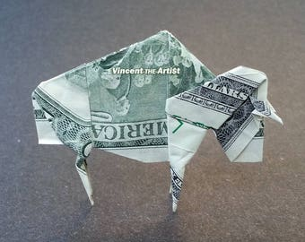 BUFFALO Money Origami Dollar Bill Bison Ox Cash Sculptors Bank Note Handmade