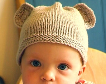 Easy baby knitting pattern download pdf / teddy bear hat / baby hat with ears / baby hat knitting pattern / baby beanie hat / Easy hat pdf