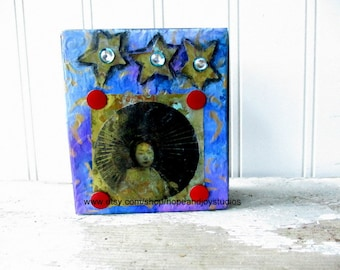 Assemblage art block Mixed media collage altered art  folk art upcycled vintage elements sit or hang Blue Moon Girl