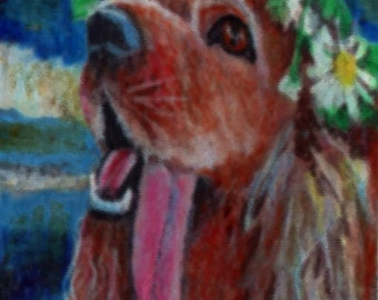 original art drawing color pencil aceo irish setter hippy with flowers in her hair