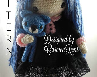 Mia and her Kitty- Amigurumi Doll Crochet Pattern PDF