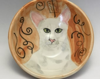 Kitty Bowl with White Cat and Spirals
