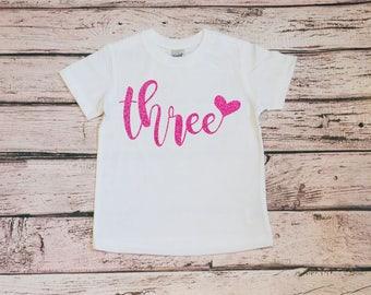 Third Birthday Shirt Toddler Girl, 3rd Birthday, Toddler Girl Shirt, Baby Girl Birthday, Three Birthday Girl, 3rd Birthday Outfit Cake Smash