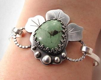 Turquoise Silver Bracelet - Boho Turquoise Bangle - Handmade Bangle Bracelet - Bohemian Silver Bracelet - Modern Statement Bracelet - B001