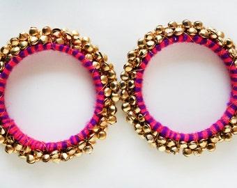 30% off Pink & Gold Bangle/ Beaded Bracelet/ Beaded Bangle/ Ethnic Bracelet/ Chunky Bracelet/ Bangle Bracelet/ Cuff Bracelet - 2 PIECES