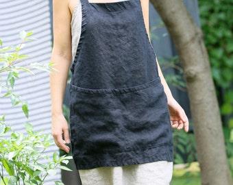 Linen Criss-Cross Aprons (More Colours) /pinafore/no-ties apron/Japanese apron - Short