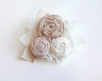Champagne and Ivory Rosettes Brooch Pin
