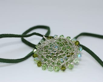 Fine Silver Wire Crocheted Pendant with Green Swarovski Crystals