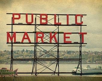 Seattle Photo, Pike Place Market sign with ferry background,