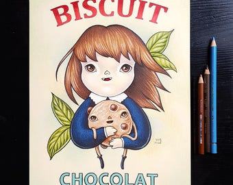 Biscuit chocolat by Grelin Machin - original drawing on paper