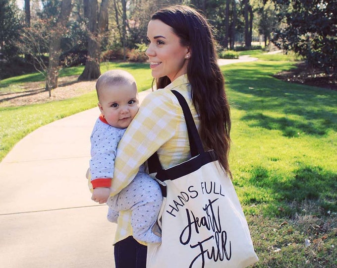 "Featured listing image: Large ""Hands Full Heart Full""  Tote Bag"