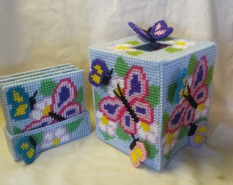 butterfly canvas kleenex box 6 inches long 5 inches wide with coasters
