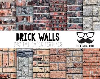 Premium Digital Paper Set, Brick Wall Textures, Scrapbook Paper, Brick Walls Digital Paper, Digital, Instant Download Patterns