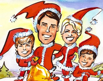 Family Caricature Cartoon from photo by creative artist. Personalized custom gift for friends, colleagues