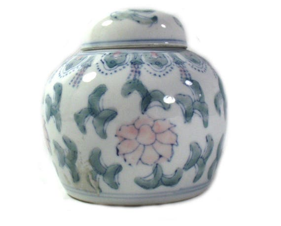 Vintage Chinese Ginger Jar with Floral Design in Pink and Green