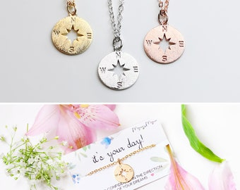 Compass Necklace - College Graduation Gift For Her Be Brave  Graduation Graduation Gift Personalized Graduation - RCN