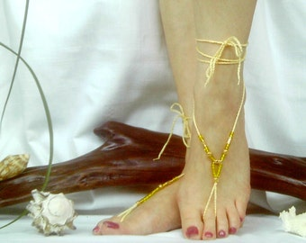 Yellow Crochet Beaded Barefoot Sandals, Boho Sandals, Beach Footwear, Earthing Sandals,  Yoga Footwear