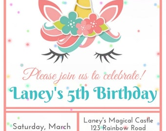 Printable Unicorn Party Invitation