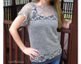 Linen and Lace Blouse Pattern - Instant download - Crochet PATTERN (pdf file) sizes small, medium, large, and extra large included