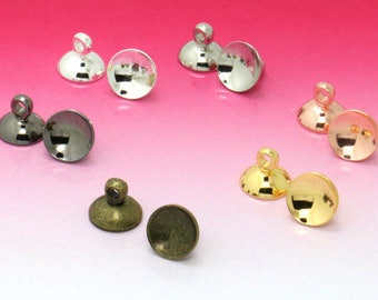 50 Brass 6mm 8mm 10mm Antique Bronze Original Copper Gold Silver White Gold Glass Cover Caps Hanging Head C07503