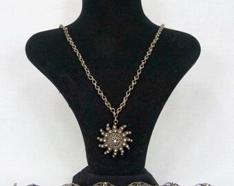 RARE Antique  silver Georgian filgree set,bracelet,necklace and pendant 1798-1809s