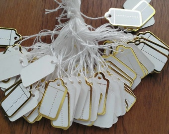 100pcs White&Gold Paper Jewelry Tags/Craft Sell Tags/ Price Tags Label-PTP001